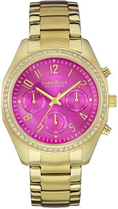 Caravelle New York by Bulova Women's Chronograph Gold-Tone Stainless Steel Bracelet Watch 36mm 44L168 $135 thestylecure.com