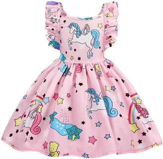 58f2ede323 Cotrio Unicorn Dress Kids Girls Birthday Party Backless Ruffles Sleeve  Outfit 5-6 Years/