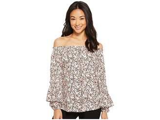 Lauren Ralph Lauren Petite Ruffled-Cuff Floral Jersey Top Women's Clothing