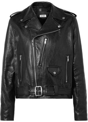 RE/DONE Oversized Leather Biker Jacket - Black