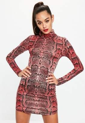 Missguided Snake Print High Neck Curve Hem Dress