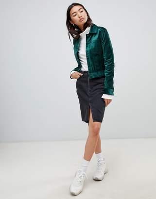 Weekday asymmetric denim skirt with raw hem in trotter black