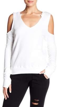 Pam & Gela V-Neck Cold Shoulder Sweater
