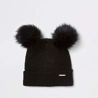River Island Womens Black faux fur double pom pom beanie hat