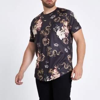 River Island Mens Big and Tall black snake print T-shirt