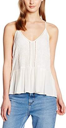 New Look Women's Embroided Peplum Cami Plain Sleeveless Tops