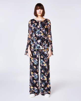 Nicole Miller Vintage Floral Bell Sleeve Top