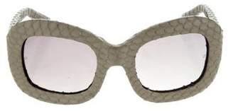 Linda Farrow Python Oversize Sunglasses