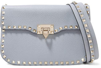 Valentino Garavani The Rockstud Textured-leather Shoulder Bag - Blue