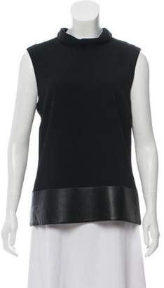 Calvin Klein Collection Faux Leather -Trimmed Sleeveless Top