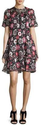 Kate Spade Casa Flora Flutter-Sleeve Pleated Chiffon Dress