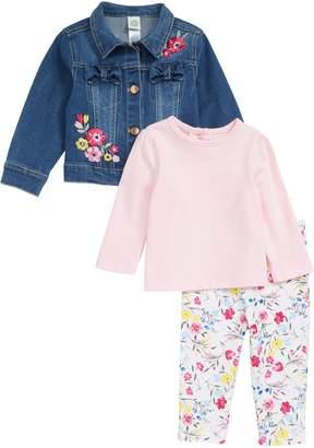 Little Me T-Shirt, Floral Print Leggings & Embroidered Denim Jacket Set