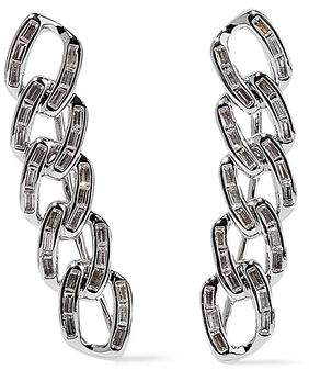 Noir Chain Gang Rhodium-plated Crystal Ear Cuffs