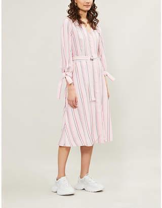 Claudie Pierlot Raissa cuff-tie striped woven dress