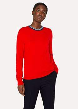 Paul Smith Women's Red Cashmere Sweater With Textured Collar