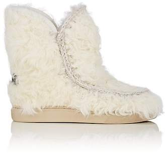 Mou Women's Goatskin Wedge Ankle Boots - White