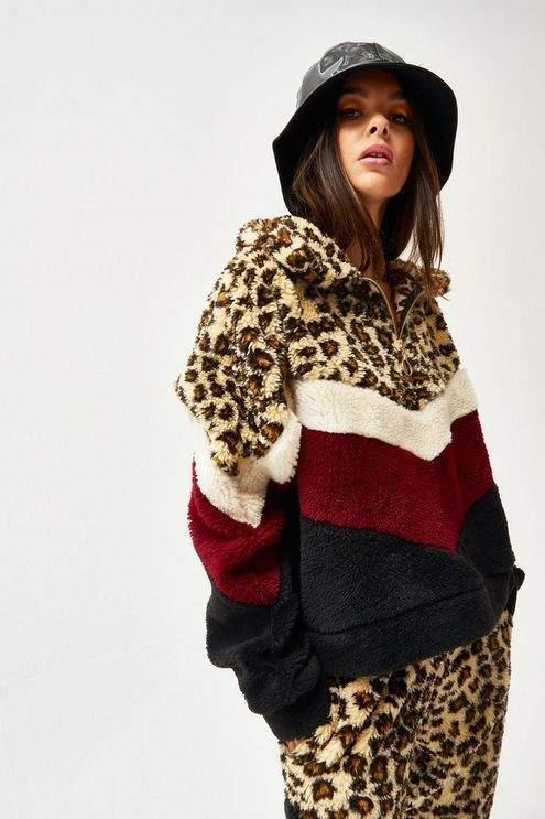 **Leopard Print Borg Fleece Jacket