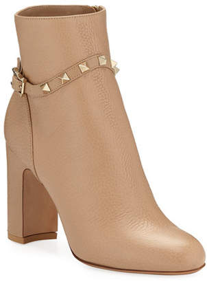 Valentino Rockstud Leather Zip Block-Heel Booties