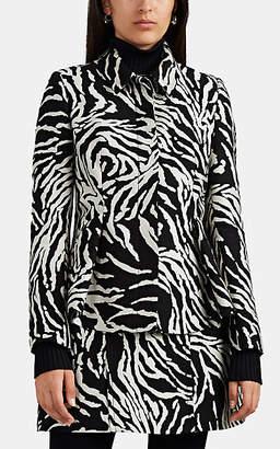 Proenza Schouler Women's Zebra-Jacquard Cotton-Blend A-Line Jacket - Blk, Wht