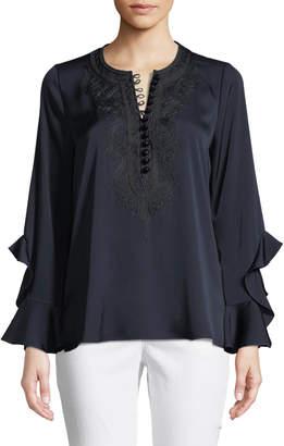 Neiman Marcus Kobi Halperin Alexia Ruffled-Cuff Silk-Blend Blouse