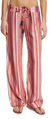 PilyQ Angelica Striped Lounge Pants, Rose $134 thestylecure.com