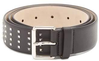 Valentino Rockstud Grained Leather Belt - Mens - Black