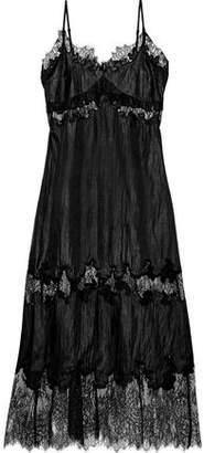 Robert Rodriguez Chantilly Lace-paneled Crinkled-shell Midi Slip Dress