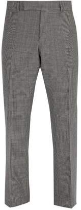 Dunhill Mid Rise Prince Of Wale Checked Wool Trousers - Mens - Grey