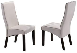 Pilaster Designs Pres White Upholstered Faux Leather Parsons Kitchen Dinette Dining Side Chairs With Cappuccino Finish Legs (Set Of Two)