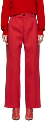 MM6 MAISON MARGIELA Red Overlock Wide-Leg Trousers