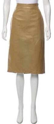 Prada Leather Pencil Knee-Length Skirt