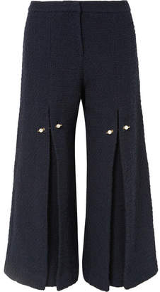 Mother of Pearl Bennie Faux Pearl-embellished Pleated Cotton-tweed Wide-leg Pants - Navy
