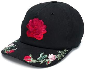Alexander McQueen floral embroidered cap