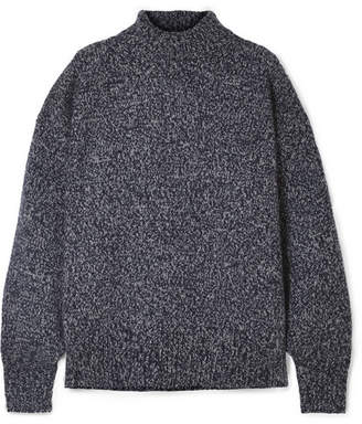 The Row Pheliana Oversized Mélange Cashmere Turtleneck Sweater - Navy