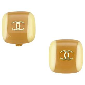 Chanel Vintage Brown Plastic Earrings