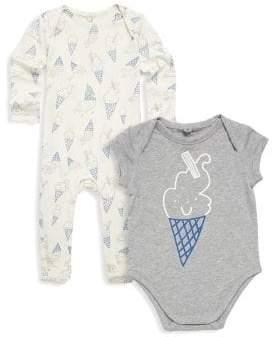 Stella McCartney Baby's Two-Piece Rufus& Gizmo Ice Cream Print Cotton Footie& Bodysuit Set