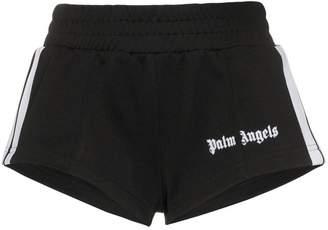 Palm Angels logo stripe print track shorts