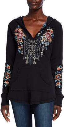 Johnny Was Plus Size Embroidered Cotton Thermal Sweatshirt