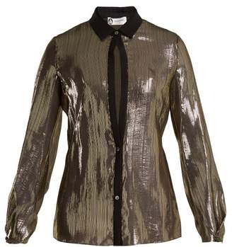 Lanvin Striped Silk Shirt - Womens - Black Gold