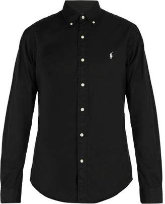 Polo Ralph Lauren Logo Embroidered Cotton Pique Shirt - Mens - Black