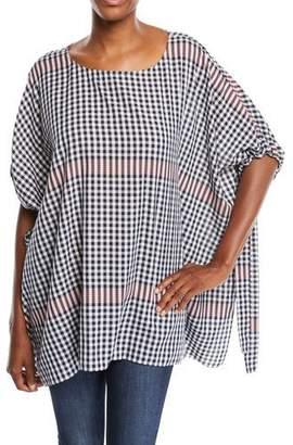 Badgley Mischka Plaid Tunic w/ Self-Tie Sleeves