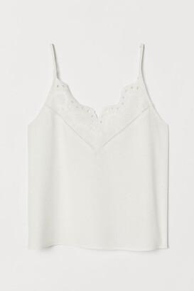 H&M V-neck Camisole Top - White