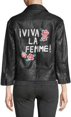 Joie Kameke Zip-Front Lamb Leather Jacket with Painted Detail
