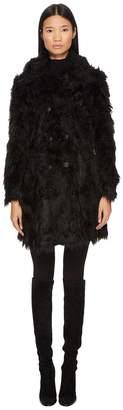 McQ Double Breasted Faux Fur Coat Women's Coat