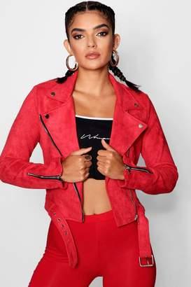 boohoo Rebecca Premium Vegan Suede Biker Jacket