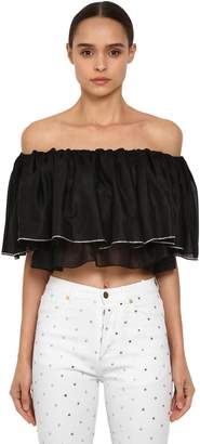Alexandre Vauthier Crystal Off The Shoulder Cotton Top