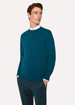 Men's Teal Cashmere Crew Neck Sweater