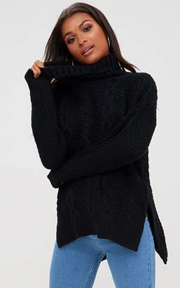 PrettyLittleThing Black Chunky Cable Knit Roll Neck Jumper