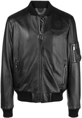 Frankie Morello zipped bomber jacket