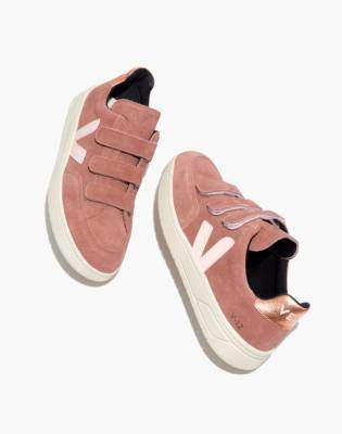 Madewell Veja V-12 Velcro Sneakers in Dried Petal